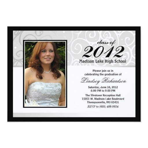 Graduation Invite -Photo Black White & Gray Swirl