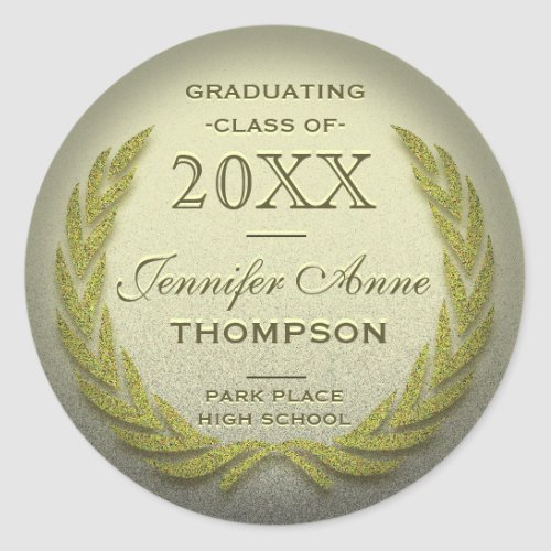 Graduation Laurel Wreath Gold Glitter Look Classic Round Sticker