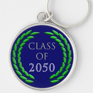 Graduation Laurel Wreath Template Silver-Colored Round Keychain
