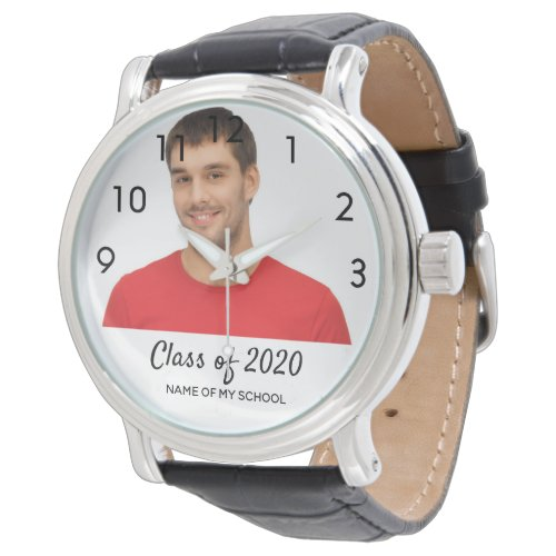 Graduation man photo male text class of 2020 watch