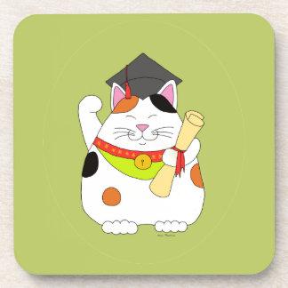 Graduation Maneki Neko Beverage Coaster
