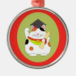 Graduation Maneki Neko Metal Ornament