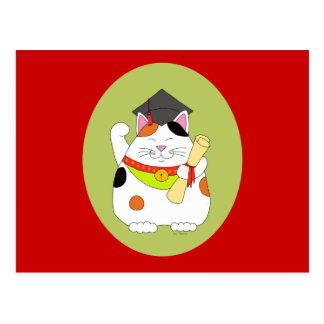 Graduation Maneki Neko Postcard