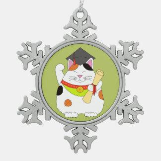 Graduation Maneki Neko Snowflake Pewter Christmas Ornament