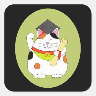 Graduation Maneki Neko Square Sticker