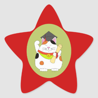 Graduation Maneki Neko Star Sticker