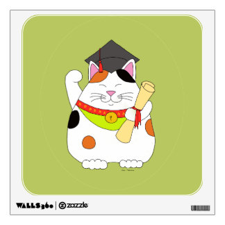 Graduation Maneki Neko Wall Sticker