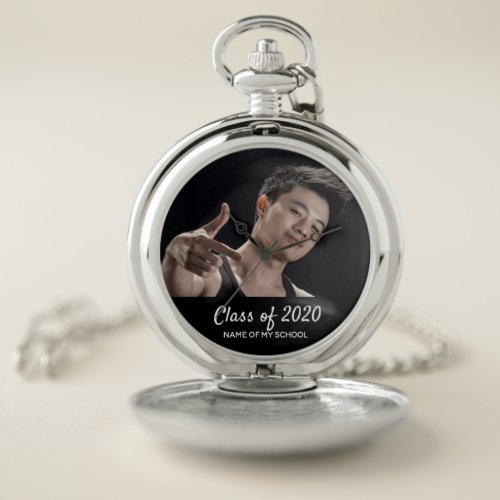 Graduation men photo male text graduate class 2020 pocket watch