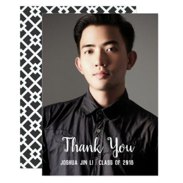Professional Business Graduation Modern Black Photo Thank You Card
