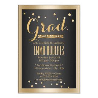 Graduation Modern Gold Border Confetti Dots Card