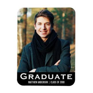 Graduation Modern Photo Magnet BW