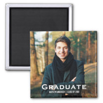 Graduation Modern Photo Magnet Sq