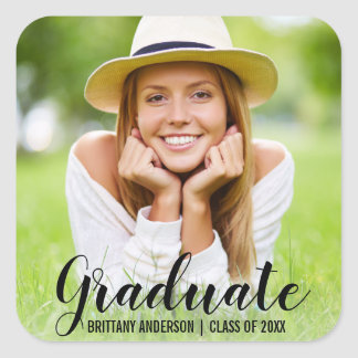 Graduation Modern Photo Name Sticker