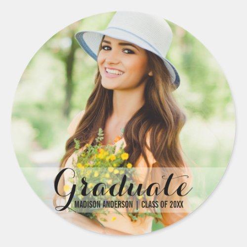 Graduation Modern Photo Name Stickers
