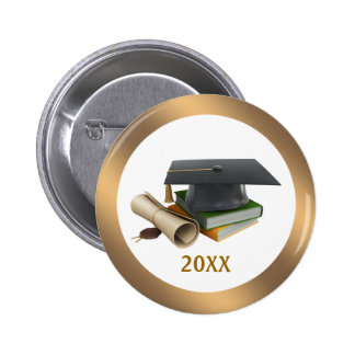 Graduation Mortar and diploma  Button