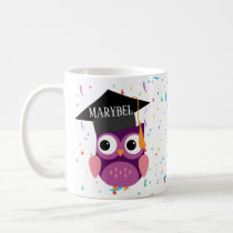 Graduation Mug with purple owl can and gown