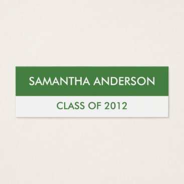 Professional Business Graduation Name Business Cards - Green