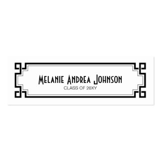 Graduation Name Card Exchange Elegant Black Frame Double-Sided Mini Business Cards (Pack Of 20)
