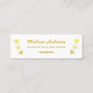 Graduation party business cards zazzle graduation name card senior year insert gold white reheart Gallery
