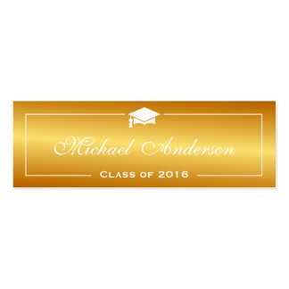 Graduation Name Card - Stylish Plain Gold Gradient Double-Sided Mini Business Cards (Pack Of 20)