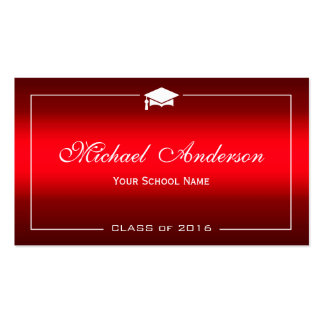 Graduation Name Card - Stylish Plain Red Gradient Double-Sided Standard Business Cards (Pack Of 100)