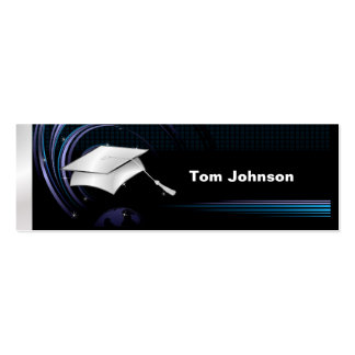 Graduation Name Cards - Blue and Silver Double-Sided Mini Business Cards (Pack Of 20)