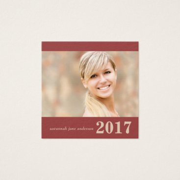 Beach Themed Graduation Name Cards Easy-Edit Square with Photo