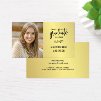 Graduation Name Grad Photo Faux Gold Foil Cards