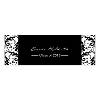 Graduation Name Tag- Classy Damask Pattern Insert Double-Sided Mini Business Cards (Pack Of 20)
