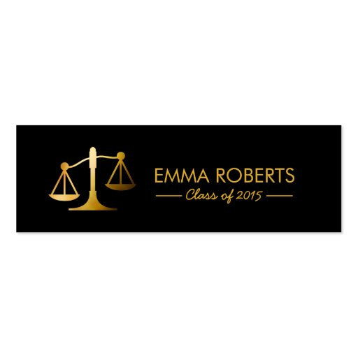 Graduation name tag modern black gold law school mini for Law school business cards