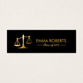 Graduation Name Tag-Modern Black & Gold Law School Mini Business Card
