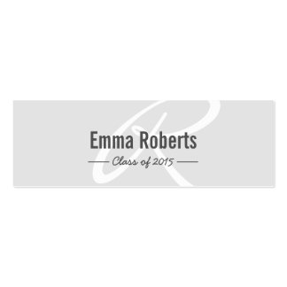 Graduation Name Tag- Silver Monogram Script Insert Double-Sided Mini Business Cards (Pack Of 20)