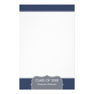 Graduation - Navy Blue Border with Class of Stationery