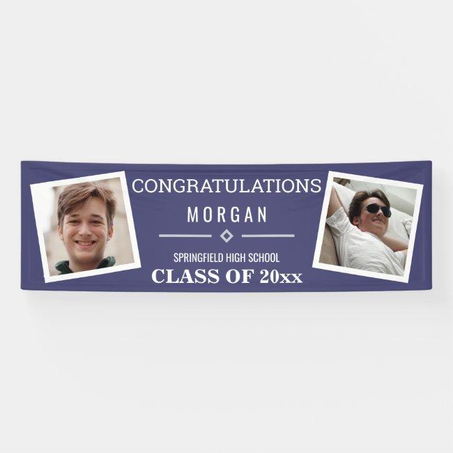 Graduation Navy Blue Or Class Reunion 2 Photo Banner