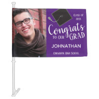 Graduation One Photo Class of 2020 Purple Car Flag