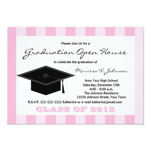 Graduation open house announcement pink stripes personalized announcement zazzle for Graduation open house invitation