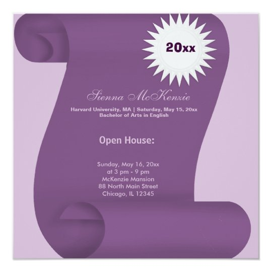 Graduation Open House (Purple) Card