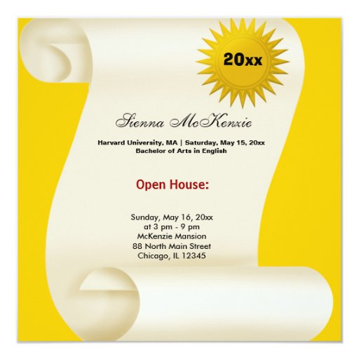 Graduation open house yellow invitation zazzle for Graduation open house invitation