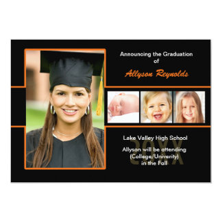 Graduation Orange and Black Photo Announcement
