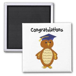 Graduation Owl 2 Inch Square Magnet
