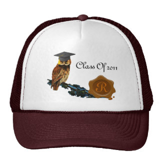 GRADUATION OWL  AND BROWN WAX SEAL MONOGRAM TRUCKER HAT