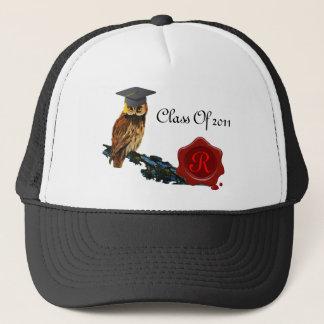 GRADUATION OWL  AND RED WAX SEAL MONOGRAM TRUCKER HAT