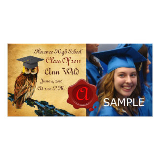 GRADUATION OWL PARCHMENT AND RED WAX SEAL MONOGRAM CARD
