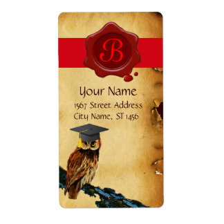 GRADUATION OWL PARCHMENT AND RED WAX SEAL MONOGRAM PERSONALIZED SHIPPING LABELS