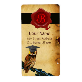 GRADUATION OWL PARCHMENT AND RED WAX SEAL MONOGRAM CUSTOM SHIPPING LABELS