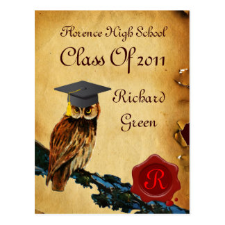 GRADUATION OWL PARCHMENT AND RED WAX SEAL MONOGRAM POSTCARD