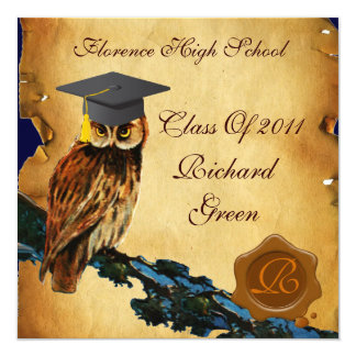 GRADUATION OWL PARCHMENT BROWN WAX SEAL MONOGRAM CARD