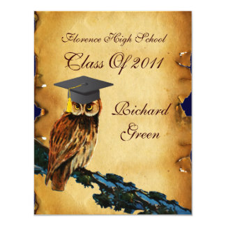 GRADUATION OWL PARCHMENT BROWN WAX SEAL MONOGRAM CARD