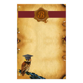 GRADUATION OWL PARCHMENT BROWN WAX SEAL MONOGRAM STATIONERY PAPER