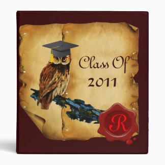 GRADUATION OWL PARCHMENT, RED WAX SEAL MONOGRAM 3 RING BINDER